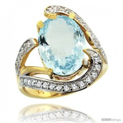 14k Gold Natural Aquamarine Ring Oval 14x10 Diamond Accent, 3/4 in wide