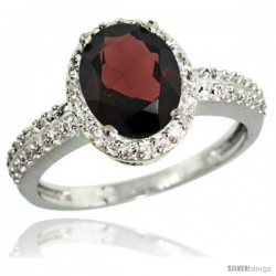 Sterling Silver Diamond Natural Garnet Ring Oval Stone 9x7 mm 1.76 ct 1/2 in wide