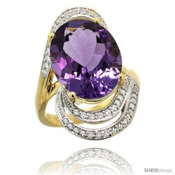 14k Gold Natural Amethyst Ring 16x12 mm Oval Shape Diamond Halo, 1 in