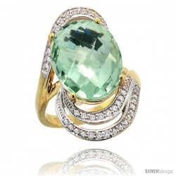 14k Gold Natural Green Amethyst Ring 16x12 mm Oval Shape Diamond Halo, 1 in