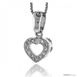 "High Polished Sterling Silver 9/16"" (14 mm) tall Heart Cut Out Pendant, w/ 1.5mm Brilliant Cut CZ Stones, w/ 18"" Thin Box Chain"
