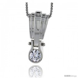 "High Polished Sterling Silver 1"" (25 mm) tall Pendant Enhancer, w/ 6mm Brilliant Cut CZ Stone, w/ 18"" Thin Box Chain"
