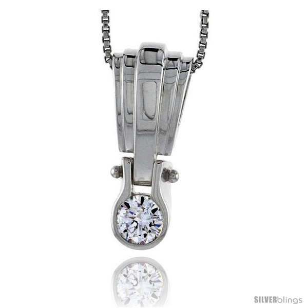 https://www.silverblings.com/79018-thickbox_default/high-polished-sterling-silver-1-25-mm-tall-pendant-enhancer-w-6mm-brilliant-cut-cz-stone-w-18-thin-box-chain.jpg