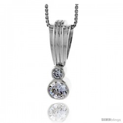 "High Polished Sterling Silver 1"" (25 mm) tall Pendant Enhancer, w/ one 6mm & one 3mm Brilliant Cut CZ Stones, w/ 18"" Thin Box"