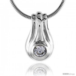 "High Polished Sterling Silver 9/16"" (14 mm) tall Pendant Enhancer, w/ 3.5mm Brilliant Cut Amethyst-colored CZ Stone, w/ 18"""