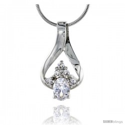 "High Polished Sterling Silver 15/16"" (24 mm) tall Cluster Pendant Slide, w/ one 7x5mm Oval Cut & five 2mm Brilliant Cut CZ"