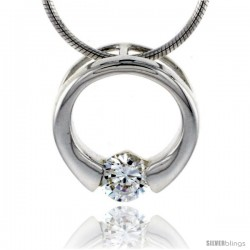 "High Polished Sterling Silver 9/16"" (15 mm) Round Pendant Slide, w/ 5mm Brilliant Cut CZ Stone, w/ 18"" Thin Box Chain"