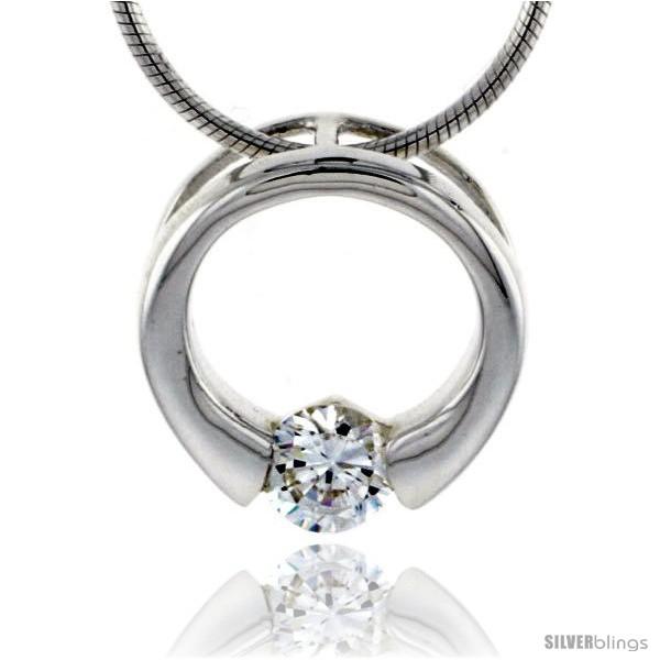 https://www.silverblings.com/79034-thickbox_default/high-polished-sterling-silver-9-16-15-mm-round-pendant-slide-w-5mm-brilliant-cut-cz-stone-w-18-thin-box-chain.jpg