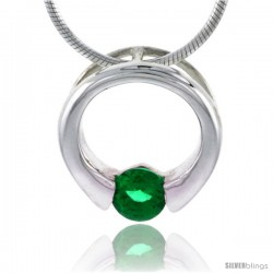"High Polished Sterling Silver 9/16"" (15 mm) Round Pendant Slide, w/ 5mm Brilliant Cut Emerald-colored CZ Stone, w/ 18"" Thin Box"