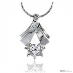 "High Polished Sterling Silver 7/8"" (23 mm) tall Cluster Pendant Slide, w/ one 5mm & five 2mm Brilliant Cut CZ Stones, w/ 18"""