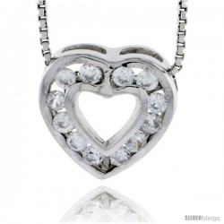 "High Polished Sterling Silver 1/2"" (13 mm) tall Heart Pendant Slide, w/ Twelve 2mm Brilliant Cut CZ Stones, w/ 18"" Thin Box"