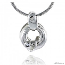 "High Polished Sterling Silver 9/16"" (14 mm) Round Pendant, w/ Brilliant Cut CZ Stone, w/ 18"" Thin Box Chain"