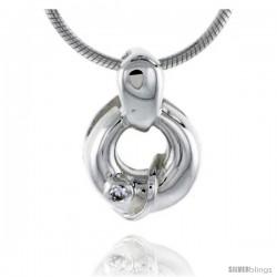 "High Polished Sterling Silver 9/16"" (14 mm) Round Pendant, w/ Brilliant Cut CZ Stone, w/ 18"" Thin Box Chain"