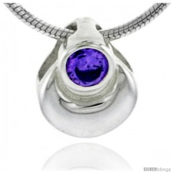 "High Polished Sterling Silver 3/8"" (10 mm) tall Pear-shaped Pendant, w/ 3mm Amethyst-colored Brilliant Cut CZ Stone, w/ 18"""
