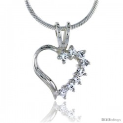 "High Polished Sterling Silver 1/2"" (12 mm) tall Heart Cut Out Pendant, w/ eight 2mm Brilliant Cut CZ Stones, w/ 18"" Thin Box"