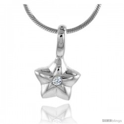 "High Polished Sterling Silver 3/8"" (10 mm) tall Star Pendant, w/ 2mm Brilliant Cut CZ Stone, w/ 18"" Thin Box Chain"