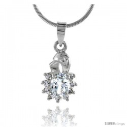 "High Polished Sterling Silver 11/16"" (17 mm) tall Cluster Pendant, w/ 7x5mm Oval Cut & nine 2mm Brilliant Cut CZ Stones, w/ 18"""