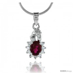 "High Polished Sterling Silver 11/16"" (17 mm) tall Cluster Pendant, w/ 7x5mm Oval Cut Garnet-colored & nine 2mm Brilliant Cut CZ"