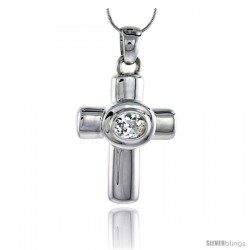 "High Polished Sterling Silver 1 3/4"" (45 mm) tall Latin Cross Pendant, w/ 10x8mm Oval Cut CZ Stone, w/ 18"" Thin Box Chain"