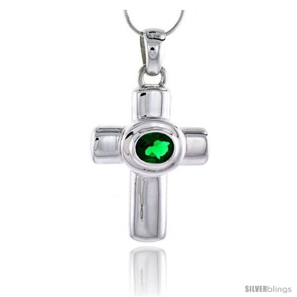 https://www.silverblings.com/79058-thickbox_default/high-polished-sterling-silver-1-3-4-45-mm-tall-latin-cross-pendant-w-10x8mm-oval-cut-emerald-colored-cz-stone-w-18-thin.jpg