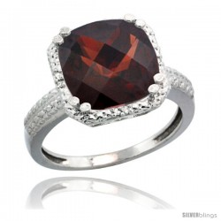 Sterling Silver Diamond Natural Garnet Ring 5.94 ct Checkerboard Cushion 11 mm Stone 1/2 in wide