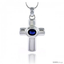 "High Polished Sterling Silver 1 3/4"" (45 mm) tall Latin Cross Pendant, w/ 10x8mm Oval Cut Blue Sapphire-colored CZ Stone"