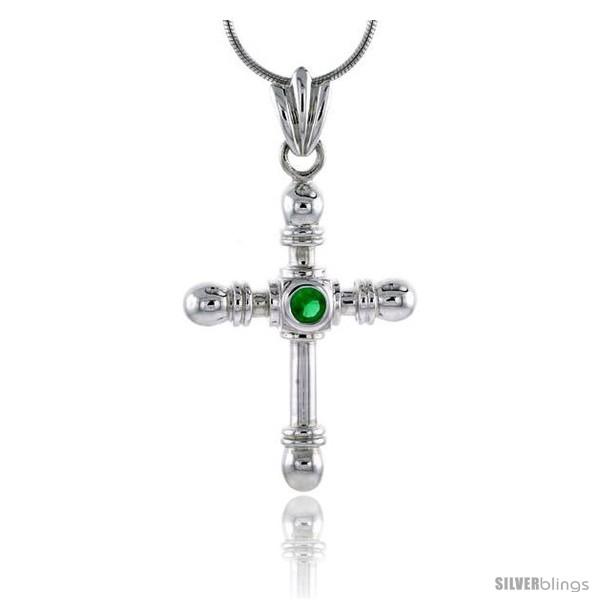 https://www.silverblings.com/79064-thickbox_default/high-polished-sterling-silver-1-1-2-38-mm-tall-crucifix-pendant-w-4mm-brilliant-cut-emerald-colored-cz-stone-w-18-thin.jpg