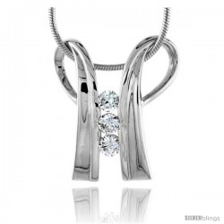 "High Polished Sterling Silver 7/8"" (23 mm) tall Double Loop Pendant, w/ 3mm Brilliant Cut CZ Stones, w/ 18"" Thin Box Chain"