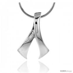 "High Polished Sterling Silver 15/16"" (24 mm) tall Freeform Pendant, w/ 18"" Thin Box Chain"