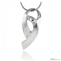 "High Polished Sterling Silver 1 5/16"" (34 mm) tall Double Loop Pendant, w/ 18"" Thin Box Chain"