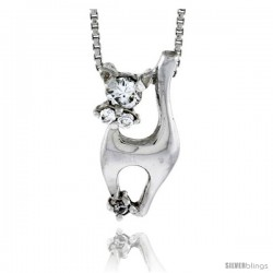 "High Polished Sterling Silver 13/16"" (20 mm) tall Cat Pendant, w/ one 4mm & two 2mm Brilliant Cut CZ Stones, w/ 18"" Thin Box"