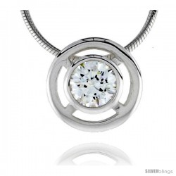 "High Polished Sterling Silver 1/2"" (13 mm) Round Pendant Enhancer, w/ 8mm Brilliant Cut CZ Stone, w/ 18"" Thin Box Chain"