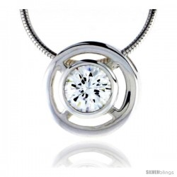 "High Polished Sterling Silver 1/2"" (13 mm) Round Pendant Enhancer, w/ 7mm Brilliant Cut CZ Stone, w/ 18"" Thin Box Chain"