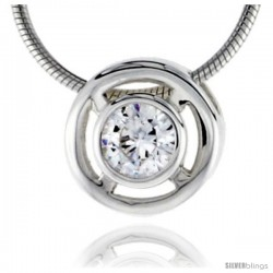 "High Polished Sterling Silver 7/16"" (11 mm) Round Pendant Enhancer, w/ 6mm Brilliant Cut CZ Stone, w/ 18"" Thin Box Chain"