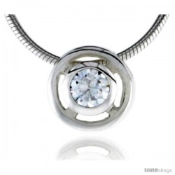 "High Polished Sterling Silver 5/16"" (8 mm) Round Pendant Enhancer, w/ 5mm Brilliant Cut CZ Stone, w/ 18"" Thin Box Chain"