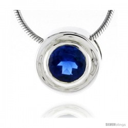 "High Polished Sterling Silver 7/16"" (11 mm) Round Pendant Enhancer, w/ 6.5mm Brilliant Cut Blue Sapphire-colored CZ Stone"