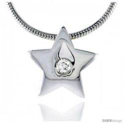 "High Polished Sterling Silver 7/16"" (11 mm) Star Pendant Enhancer, w/ 2mm Brilliant Cut CZ Stone, w/ 18"" Thin Box Chain"