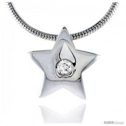 """High Polished Sterling Silver 7/16"""" (11 mm) Star Pendant Enhancer, w/ 2mm Brilliant Cut CZ Stone, w/ 18"""" Thin Box Chain"""