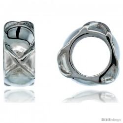 "High Polished Sterling Silver 1/2"" (13 mm) tall Barrel Pendant Slide w/ Crosses, w/ 18"" Thin Box Chain"