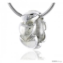 "High Polished Sterling Silver 1/2"" (13 mm) tall Round Pendant Slide w/ Infinite Hearts, w/ 18"" Thin Box Chain"