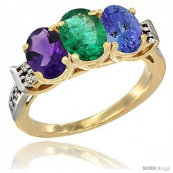 10K Yellow Gold Natural Amethyst, Emerald & Tanzanite Ring 3-Stone Oval 7x5 mm Diamond Accent