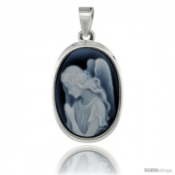 Sterling Silver Natural Blue Agate Cameo Praying Angel Pendant 18x13mm