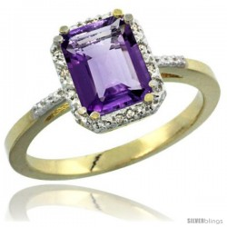 10k Yellow Gold Ladies Natural Amethyst Ring Emerald-shape 8x6 Stone