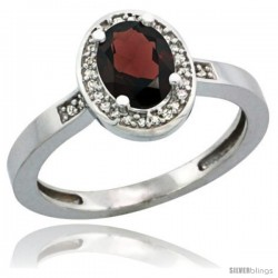 Sterling Silver Diamond Natural Garnet Ring 1 ct 7x5 Stone 1/2 in wide