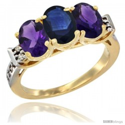 10K Yellow Gold Natural Blue Sapphire & Amethyst Sides Ring 3-Stone Oval 7x5 mm Diamond Accent