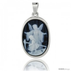 Sterling Silver Natural Blue Agate Cameo Guardian Angel w/ Little Girl Pendant 18x13mm