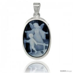 Sterling Silver Natural Blue Agate Cameo Guardian Angel w/ Little Boy Pendant 18x13mm