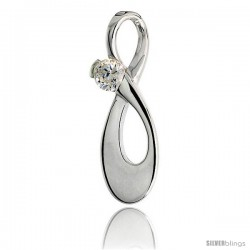 "High Polished Knot Pendant in Sterling Silver w/ 4mm Brilliant Cut CZ Stone, 15/16"" (24 mm) tall"