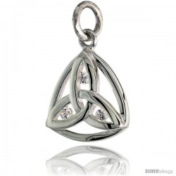 "High Polished Trinity Pendant in Sterling Silver w/ 3 Brilliant Cut CZ Stones, 5/8"" (15 mm) tall"