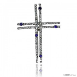 "Sterling Silver Gammadia Cross Pendant, w/ Brilliant Cut Clear & Amethyst-colored CZ Stones, 2"" (51 mm) tall, w/ 18"" Thin Snake"